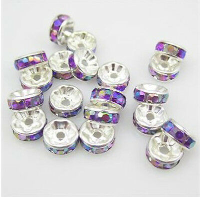Fashion 20pcs 8MM Plated silver Purple AB crystal spacer beads Fit Bracelets 002