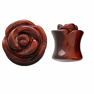 0G Gauge Red Tiger Eye Stone Rose Double Flare Saddle Plugs Pair Jewelry Unique