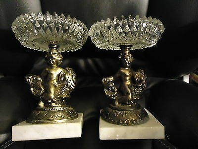 SET OF 2 VINTAGE CRYSTAL BOWL DISH COMPOTE BRASS CHERUB FISH