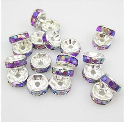 Free shipping NEW Fashion 20pcs 8MM Plated silver crystal spacer beads Purple AB