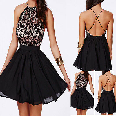 Sexy Women's Sleeveless Backless Mini Dress Slim Cut Night Club Halter Pleated