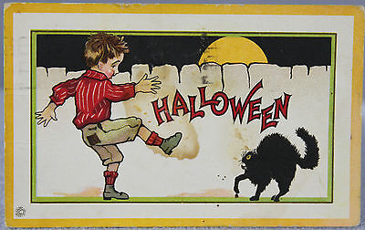 Estate #400 - Antique Halloween Postcard Used Stecher Lith. Embossed Dated 1920