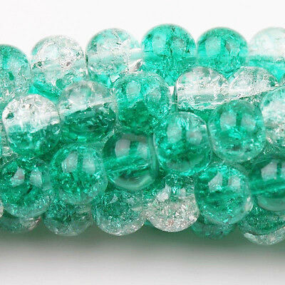 50Pcs Green&Clear Czech Glass Crackle Cracked Loose Spacer Round Craft Beads10mm