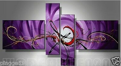 4pc Hand-painted Beautiful Purple Modern Abstract Oil Painting (NO frame)P048
