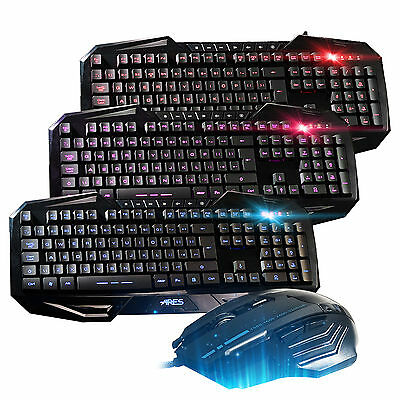 Gaming Combo Wired 7 Color Backlit Keyboard and 3200dpi Mouse Mice Bundles Combo