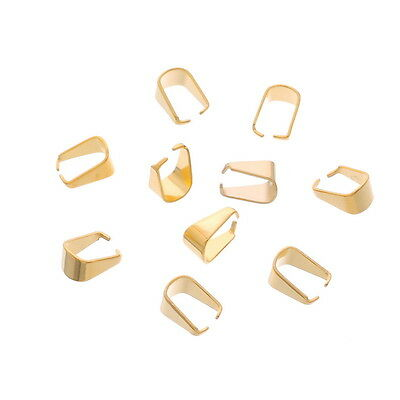 10PCs Stainless Steel Pinch Bail Clip Gold Plated For Jewelry DIY