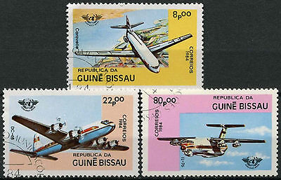 Guinea Bissau 1984 SG#832-4, 40th Anniv ICAO, Aircrafts Cto Used Set #A84017