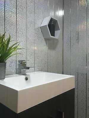 Platinum White Sparkle & Chrome 8mm Cladding Bathroom Ceiling Panels Shower Wall