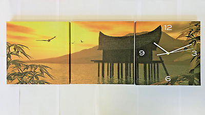 Sunset Water Clock Hanging Canvas Wall Art on Wood Frame 3 x 30cm square Lounge