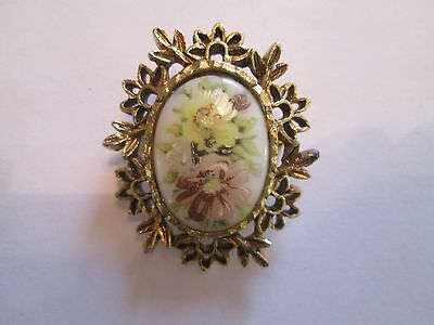 Vtg Antique Ornate Brass Look Hand Painted Pin Brooch W Floral Motiff