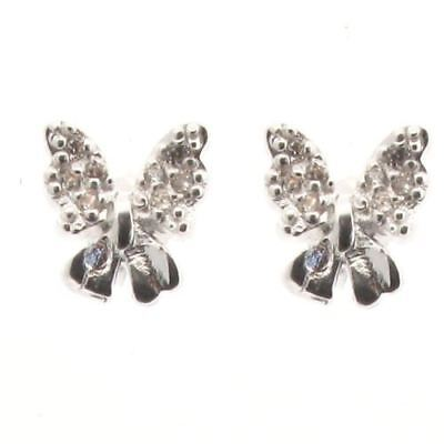 Sterling Silver Bow Design Stud Earrings with Crystal = Post Style xxx