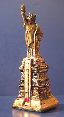 "Vintage Souvenir Metal Building Statue of Liberty with Thermometer 6"" tall n.m."