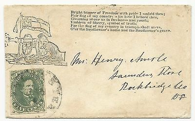 CSA Scott #1 Stone 2 on Patriotic Cover Winchester, VA January 1862 Ex-Agre Cert