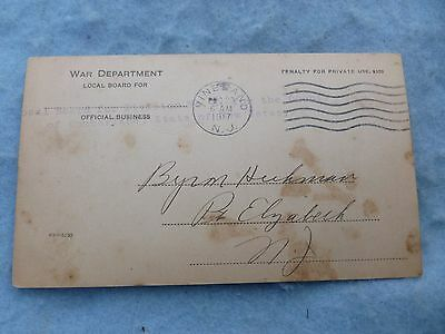 1917 US Draft Classification Card Elizabeth New Jersey Named Classified 4A