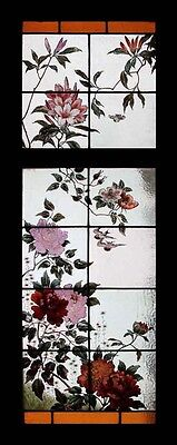 Very Rare Antique Royal Doulton Painted Flowers and Birds Stained Glass Windows