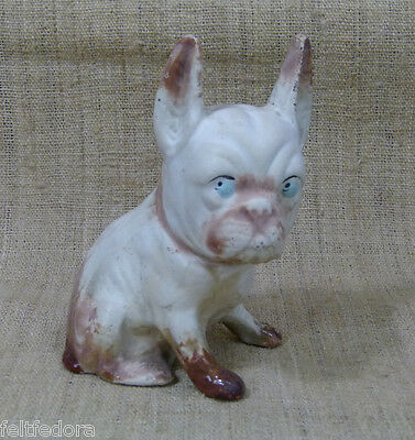ANTIQUE FRENCH BULLDOG DOG FIGURINE RED-WARE POTTERY CERAMIC HAND PAINTED GLAZE