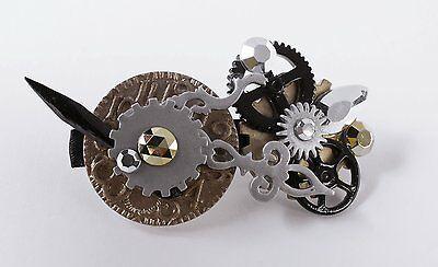 SteamPunk Cosplay Victorian Style Industrial Hair Clip Barrette w/ Gears, SEALED