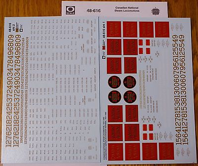 Microscale Decal O #48-616 Railroad Decal Set - Canadian National -- Steam Locos
