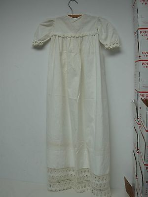ANTIQUE IVORY COTTON BABY LONG CHRISTENING GOWN with INTRICATE HAND CROCHET