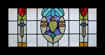 The Most Amazing Art Nouveau Mackintosh Rose Beauty English Stained Glass Window