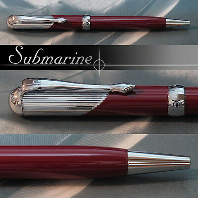 Rare & Stylish SUBMARINE Maroon Lacquered Ball Point Pen , Mint in Box, 1980s