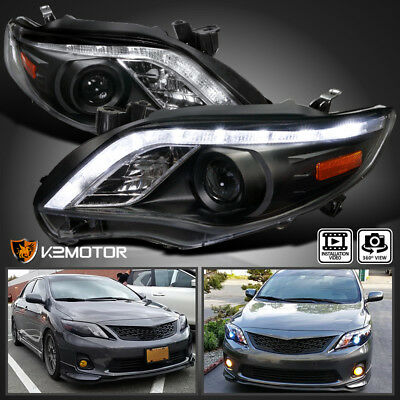 For JDM Black 2011-2013 Toyota Corolla LED DRL Projector Headlights