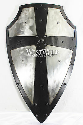 Hand-Forged Gothic LAYERED STEEL CROSS SHIELD -- Medieval Battle Armor sca/larp