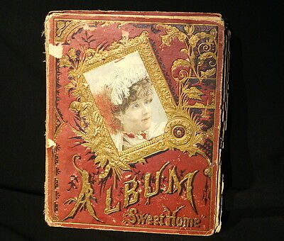 "Victorian Scrapbook ""Album, Sweet Home"" W/ Various Cards, see photos below. 9x12"