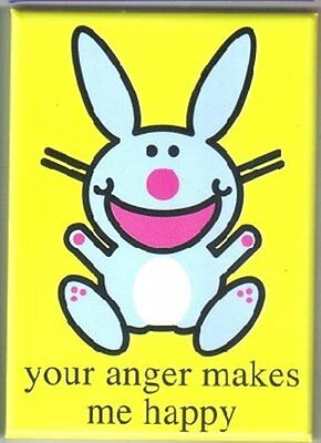 Happy Bunny Figure your anger makes me happy Refrigerator Magnet NEW UNUSED