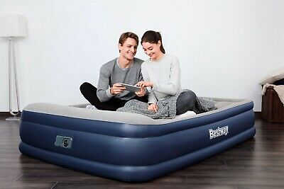 New Bestway Queen Flocked Inflatable Comfort Quest Air Bed With Electric Pump