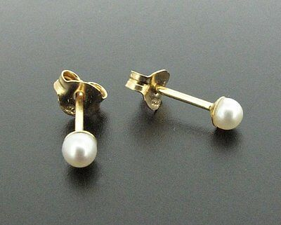 9 ct gold stud earrings with 3 mm white pearls