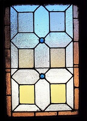 ~ ANTIQUE AMERICAN STAINED GLASS WINDOW ~ 24.5 x 34.5 ~ ARCHITECTURAL SALVAGE ~