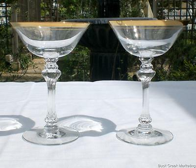 2 Tiffin Franciscan Saturn Champagne Tall Sherbet Glass Crystal Goblet Gold Band