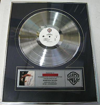 ZZ TOP Afterburner 1985 US Warner Bros. Records In-House PLATINUM Sales Award