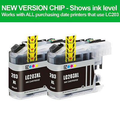 2PK LC203BK XL Black Compatible Ink Cartridge For Brother MFC-J4320DW MFC-J480DW