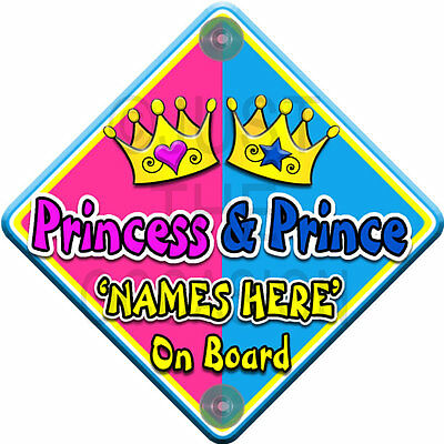 NEW ~ SWIRLY JEWEL PRINCESS & PRINCE ~ Personalised Baby on Board Car Sign