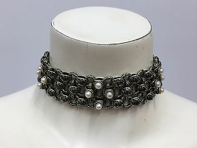 B.c. Silver Ned Bowman Sterling 14K Gold Pearl Necklace Choker Musuem Quality