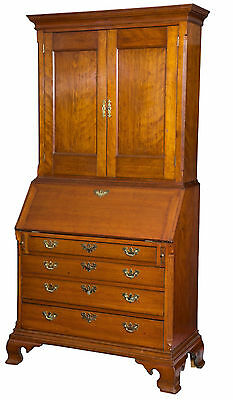 SWC-Carved Cherry Chippendale Desk/Bookcase, CT, w/ Full Secret Interior, c.1780
