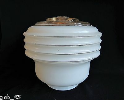 Vintage White Frosted & Clear Glass Dome Skyscraper Glass Globe Shade