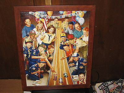 75th Anniversary of Cub Scouting Print, Joe Csatari, wooden frame