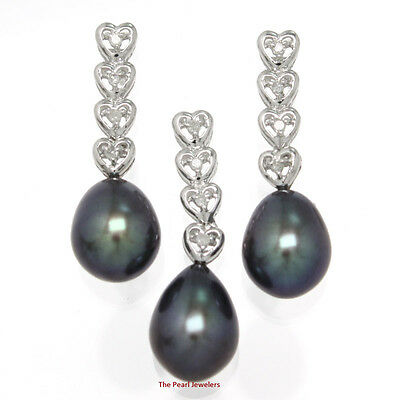 Black Cultured Pearl Earring and Pendant Set ; 14k  White Gold & Diamonds Hearts