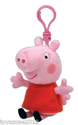 "46131 TY Peppa Pig Beanie Babies PEPPA 4.5"" Clip-On BRAND NEW with TAGS"
