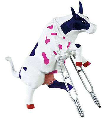 New COW PARADE Figurine OWIE COWIE Statue BROKEN LEG Hospital Gown SICK PATIENT