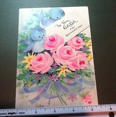 #C318- Vintage Gibson Mother's Day Greeting Card Blue Birds & Shabby Pink Roses
