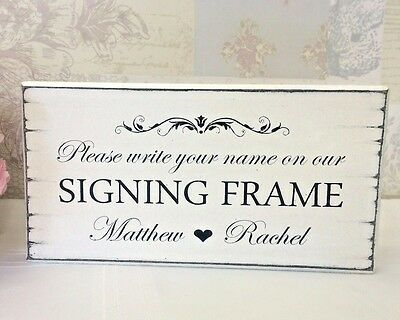 Personalised SIGNING FRAME Wedding Sign Free Standing Vintage wedding Sign