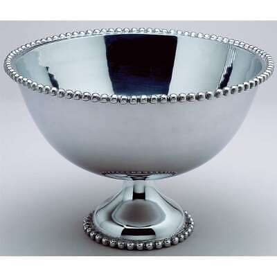 "St. Croix Kindwer Huge 16"" Beaded Aluminum Punch Bowl, Silver - A1149"