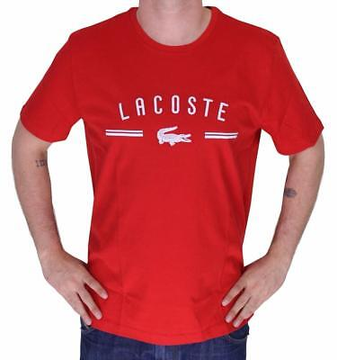 Brand New Lacoste Logo Men's Premium Cotton Crew Neck Shirt T-Shirt Tee Red