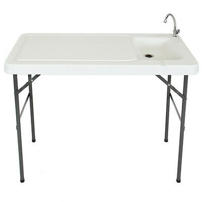 Portable Folding Fish Cutting Table with Sink Faucet