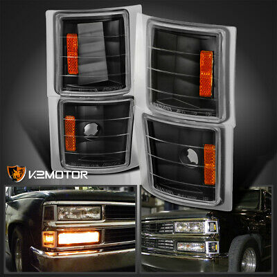1994-1998 Chevy Silverado Corner Lights Signal Lamps 4pc Black