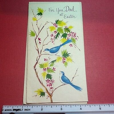 #C326- Vintage Easter Greeting Card Blue Birds On Tree Branch & Pink Blossoms